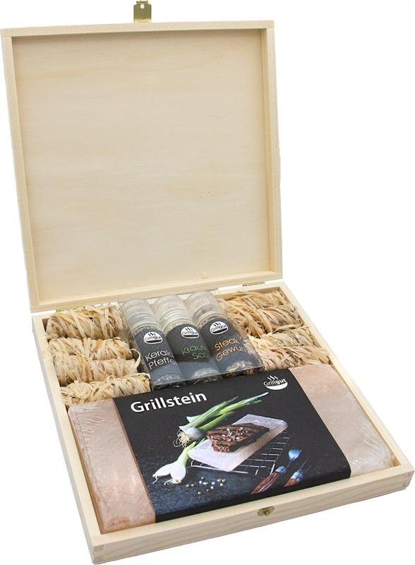 Grill Holzbox 2 (1 Grillstein, 3 Taschenmühlen, 8 x Anzündwolle)