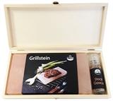 Grill Holzbox 4 (1 Grillstein und eine Taschenmühle mit Steakgewürz)